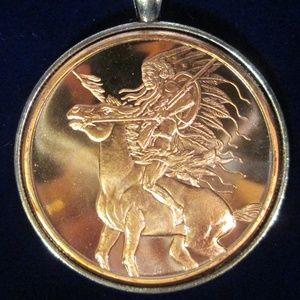 American Indian Red Horse Sterling Silver Necklace